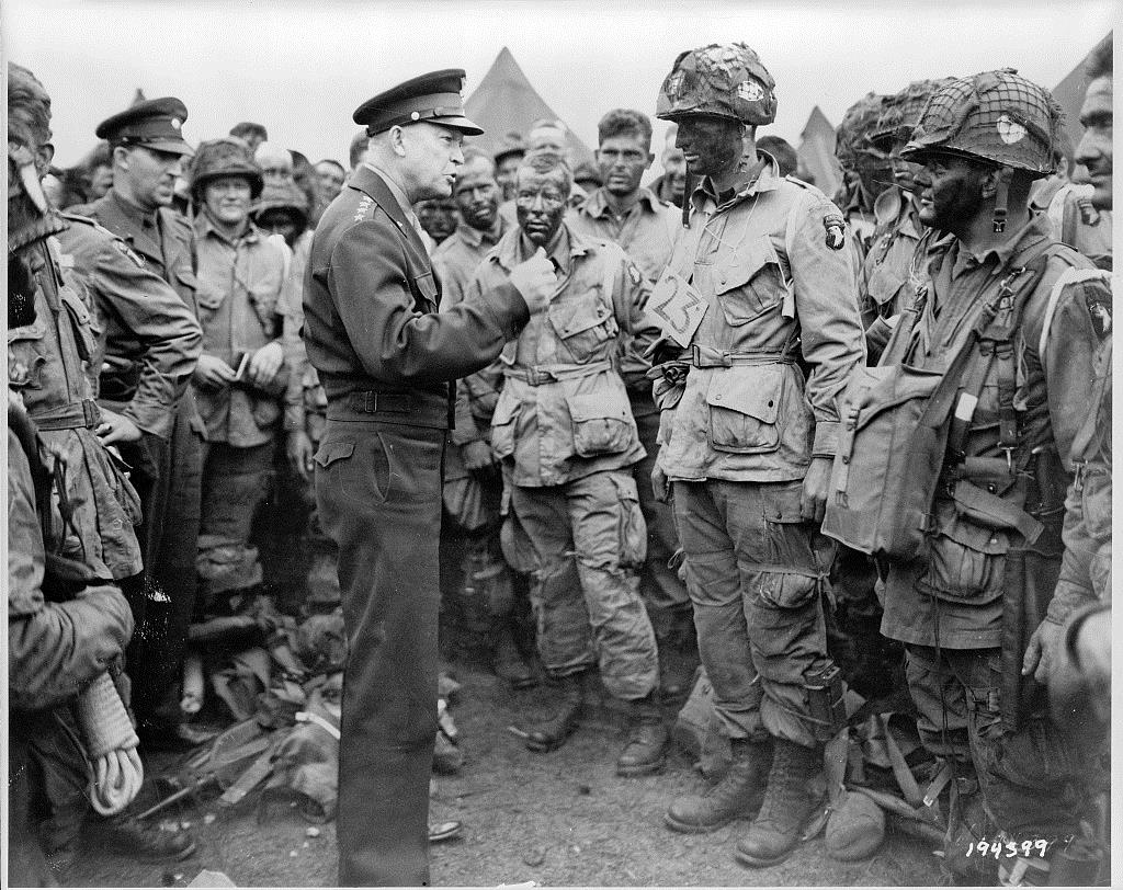 General Eisenhower addresses paratroopers prior to boarding their transports for the Normandy invasion. Library of Congress.
