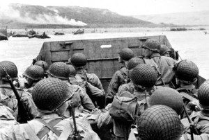 Troops approaching the beaches in landing craft. National Archives.
