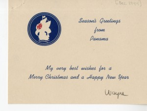 Christmas card from Panama. Louis Wayne Tyler Collection, WVM Mss 934
