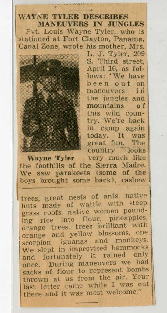 Newspaper clipping describing life in Panama. Louis Wayne Tyler Collection, WVM Mss 934