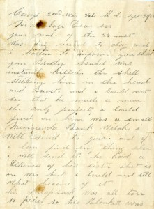 Letter from Pvt. Gage to his brother.