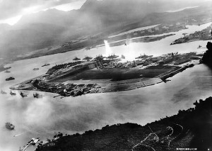 Photograph taken from Japanese bomber during the attack. Image courtesy of the U.S. Navy.