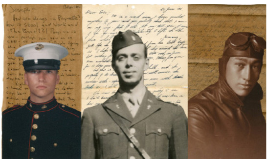 Three letters from three eras (left to right); Andrew Brady with his letter from 2004, Kenneth Zerwekh with his letter from 1945, and Charles Stuvengen with his letter from 1918.