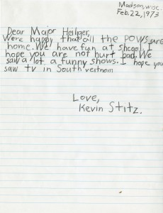 Letter from second grade class to returning P.O.W. Donald Heiliger, February 22, 1973