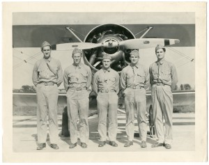 Fritz Wolf (second from left) posing with fellow cadets while training as a naval aviator in 1940 (Mss 2011.102)