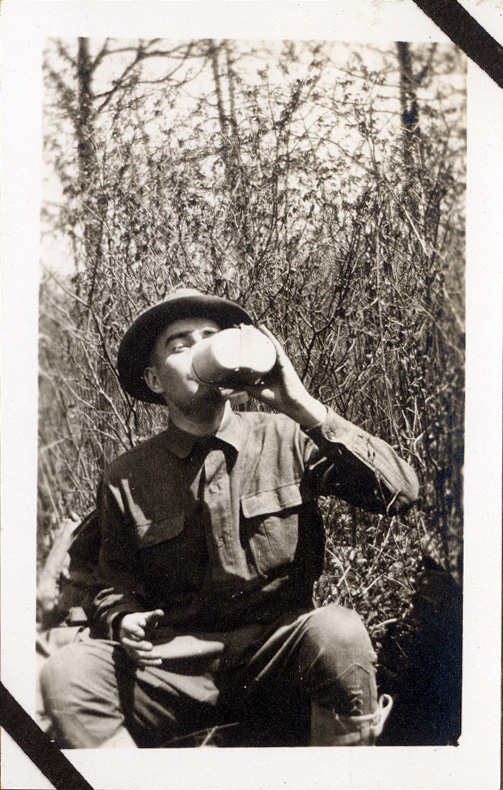 "Mortimer enjoys a drink of cold water while training at Fort Sheridan. In this letter he wrote that he wanted his commander to see that ""I am working hard and making some progress."""