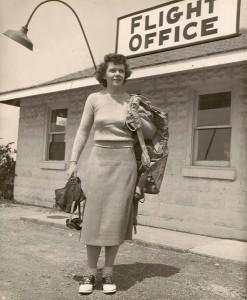 Jeanette Kapus holding flight gear. (WVM Mss 445)